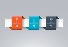 Infographic Timeline Template In The Form Of Colored Paper Tapes. Vector Banner With 3 Options, Steps, Parts. Can Be Used For For Web, Workflow Layout, Time Line, Diagram, Chart, Graph
