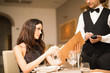 canvas print picture - Couple having dinner in a restaurant