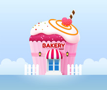 Bakery Shop Building Front Vec...