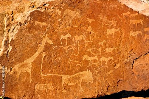 Valokuva  Felszeichnungen Twyfelfontein Namibia