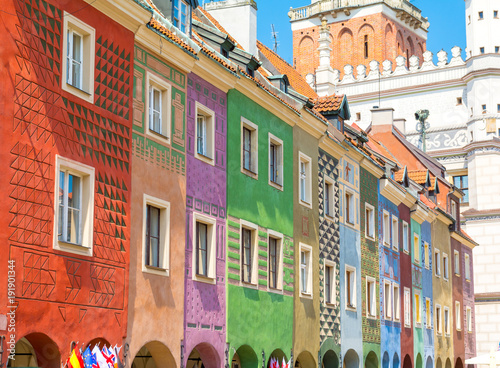 colorful buildings in Old Town of Poznan, Poland