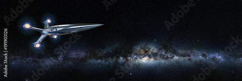 Fotografía spaceship in front of the Milky Way galaxy