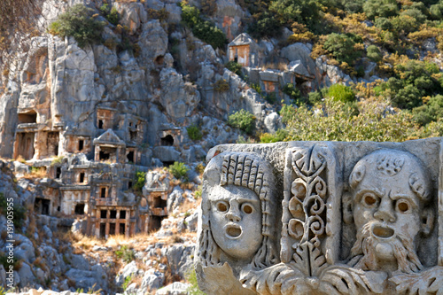 Ancient lycian Myra rock tomb ruins in Demre, Antalya. Wallpaper Mural