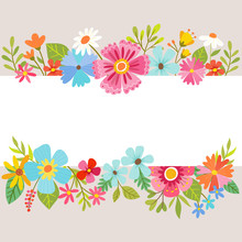 Spring Floral Background With Cartoon Flowers.