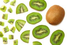 Slices Kiwi Fruit Isolated On White Background Top View