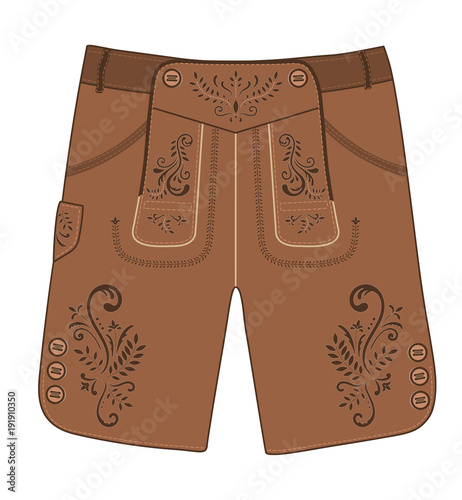 Fotografija  Traditional austrian and bavarian lederhosen (leather pants) decorated with floral embroidery