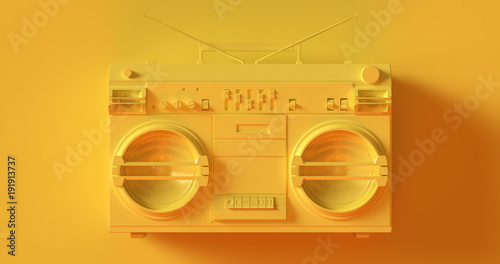 Yellow Boombox 3d illustration
