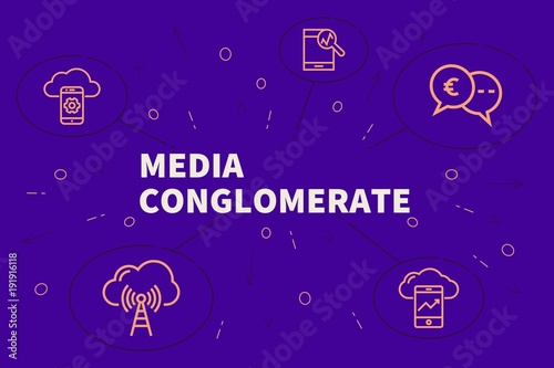 Fotografering  Conceptual business illustration with the words media conglomerate