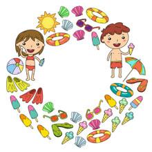 Little Children Play. Summer C...