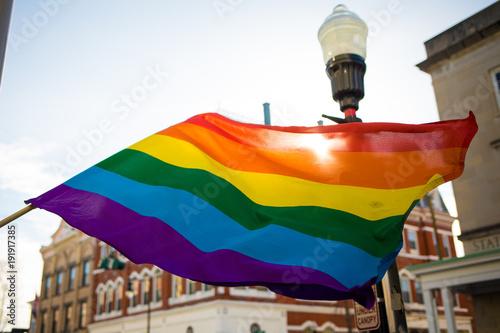 Fotografia  LGBT rainbow flag outside in the sun