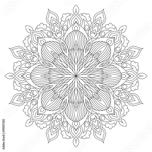 Flower circular mandala for adults. Coloring book page design. Anti stress black and white vintage decorative element. Monochrome oriental ethnic pattern. Hand drawn isolated vector illustration.