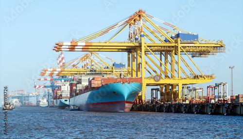 Deurstickers Poort Containerhafen mit Containerbrücken in Bremerhaven, Beladung eines Containerschiffes