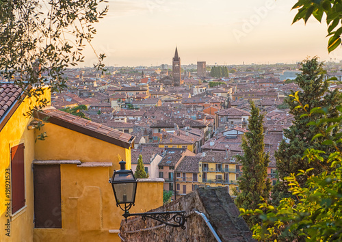 City on the water Sunset aerial view of Verona. Italy