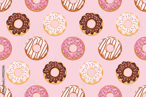 obraz lub plakat Seamless pattern with glazed donuts. Pink colors. Girly. For print and web.