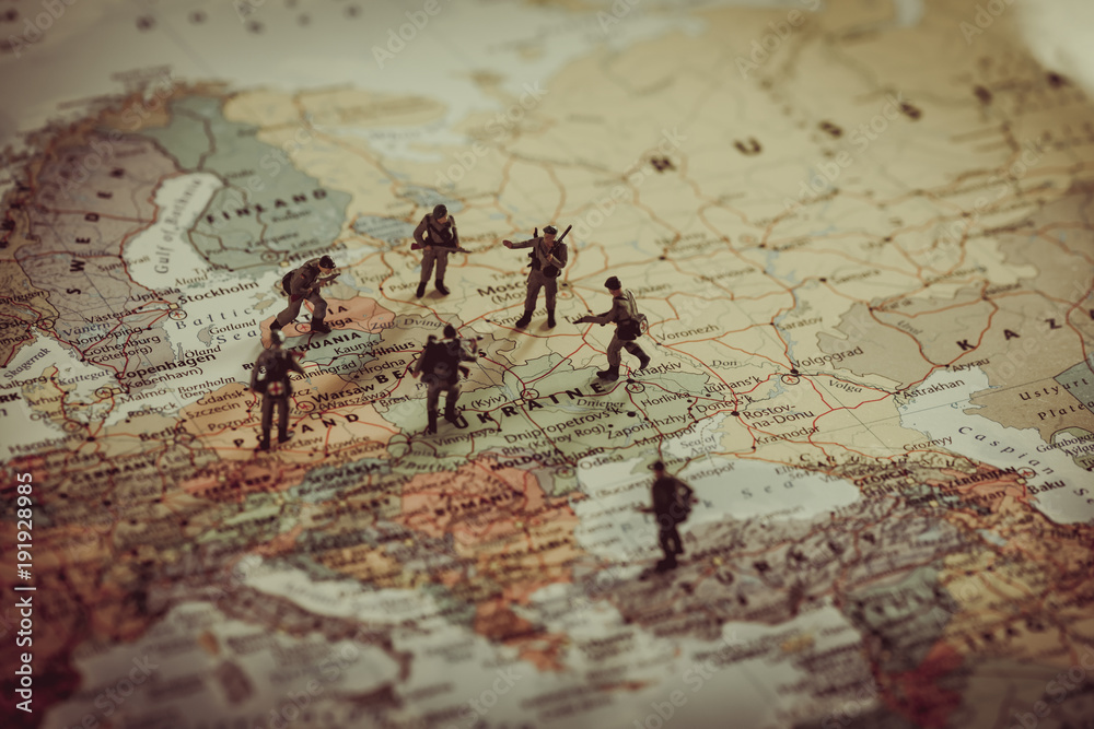 Fototapeta Ukraine, Russia and eurounion countries military conflict. Geopolitical concept