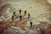 Ukraine, Russia And Eurounion Countries Military Conflict. Geopolitical Concept