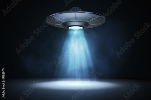 Light beam from flying UFO (alien spaceship) плакат