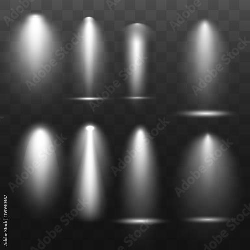 Cold scene illumination light effect. Stage illuminated spotlight on transparent background. Vector illustration. Wall mural