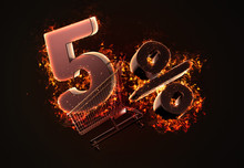 Burning Shopping Cart And Red Five Percent Discount Sign. 3D Illustration
