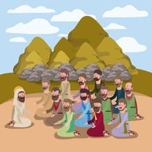 Holy Week Biblical Scene Vecto...