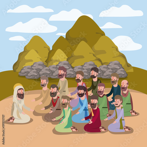 Cuadros en Lienzo holy week biblical scene vector illustration design