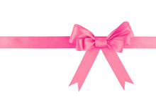 Pink Ribbon Bow Isolated On White Background