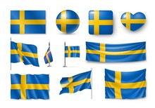 Set Sweden Flags, Banners, Ban...