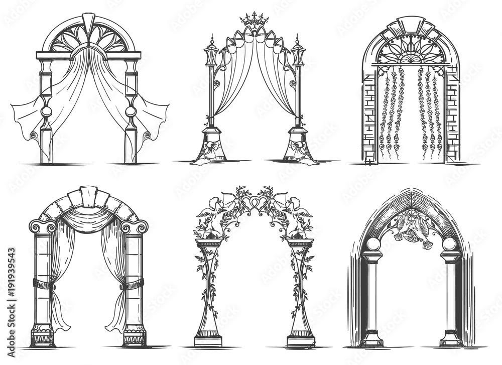 Fototapeta Wedding arches sketch. Vintage ink doodle arch entrance set for marriage ceremony vector illustration
