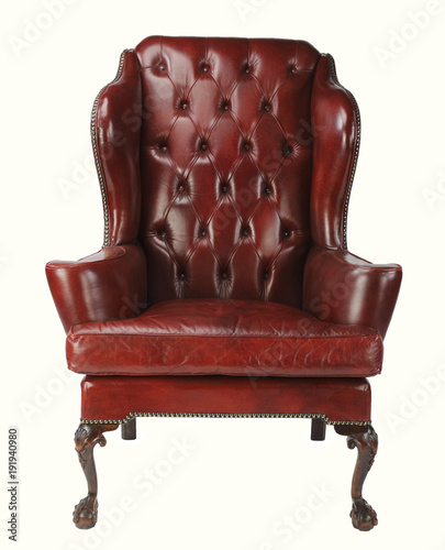 Fotografie, Obraz  Leather chair red with clipping path.