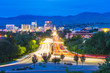 canvas print picture - Boise,idaho,usa 2017/06/15 : Boise cityscape at night with traffic light.