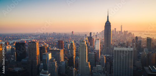 Poster Batiment Urbain Manhattan Skyline at Sunset, New York City, United States of America