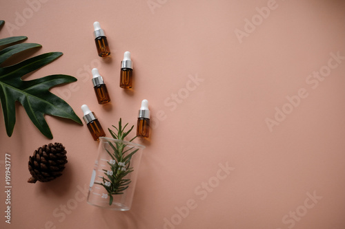 Fotografía  natural cosmetic cream , serum, skincare blank bottle packaging with leaves herb, wood