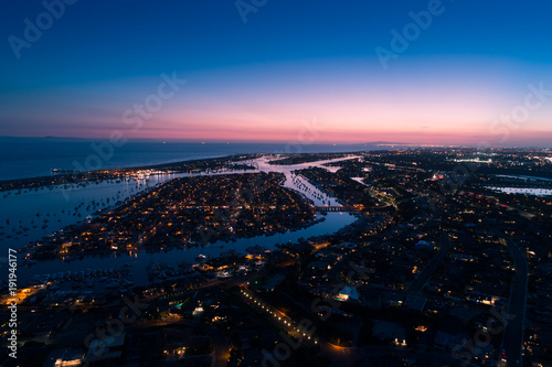 Aerial view of Balboa Island in Newport Beach at twilight Wallpaper Mural