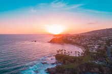 Aerial View Over Crescent Bay In Laguna Beach At Sunset Overlooking Orange County Beaches.