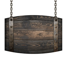 Medieval Wood Barrel Signboard...
