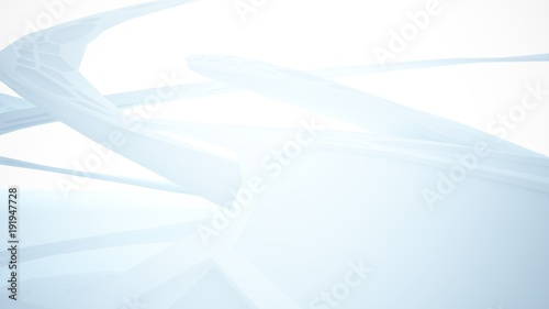 Fototapety, obrazy: Abstract white parametric interior with window. 3D illustration and rendering.