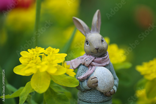 Easter Easter Bunny With A Basket Of Eggs In Yellow Spring Flowers