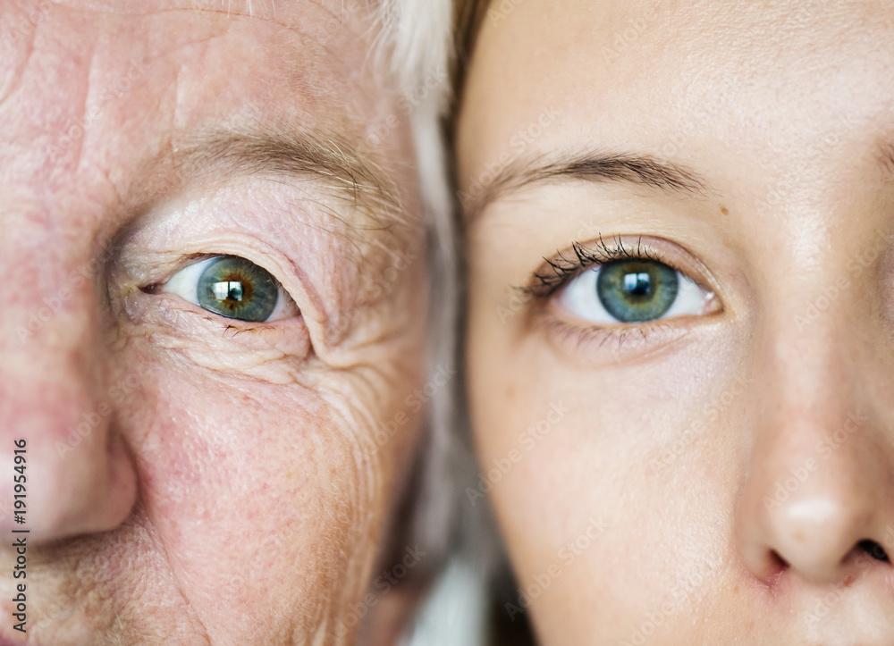 Fototapeta Family generation green eyes genetics concept