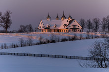 Winter Farm With Horse Barn At...