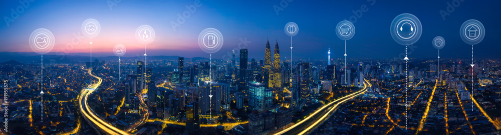 Fototapety, obrazy: Panorama aerial view in the  cityscape skyline  with smart services and icons, internet of things, networks and augmented reality concept , early morning sunrise scene .