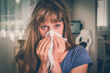 Sick Woman With Flu Or Cold Sn...