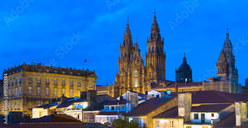 Photo Santiago de Compostela Catedral by Night Panorama Galicia Spain