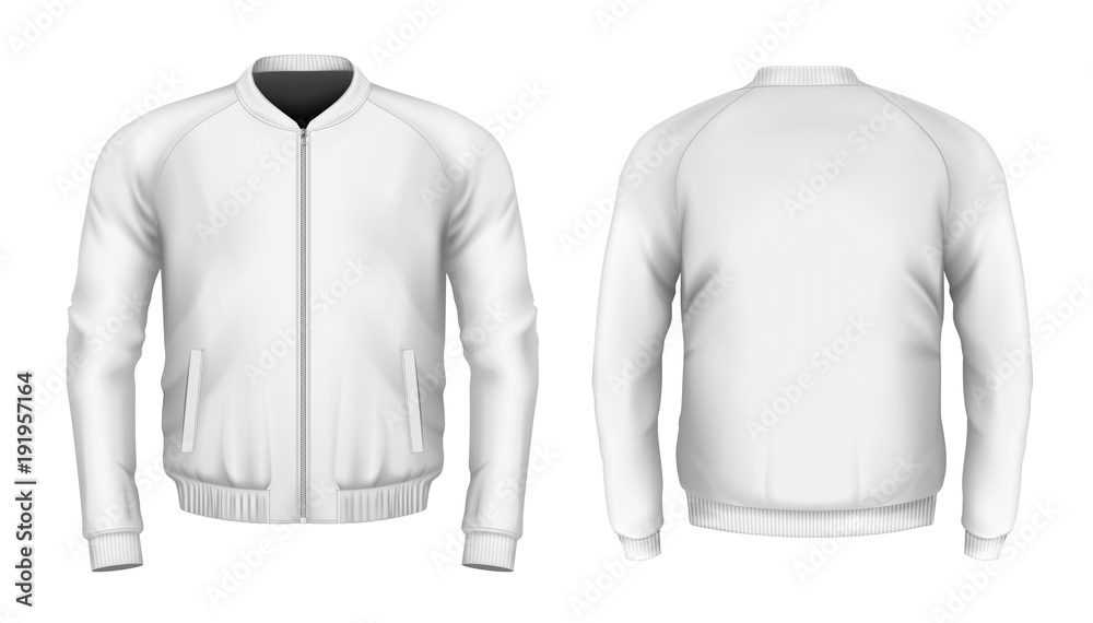 Fototapeta Bomber jacket in white. Front and back views. Vector
