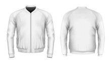 Bomber Jacket In White. Front ...