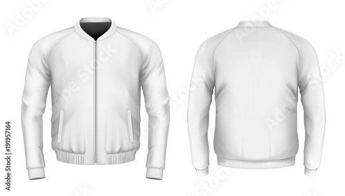 Slika na platnu Bomber jacket in white. Front and back views. Vector