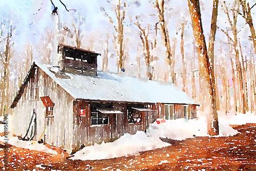 Fotografie, Tablou Watercolor of a sugar shack