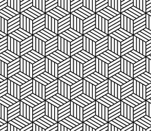 Abstract Striped Cubes Geometric Seamless Pattern In Black And White, Vector