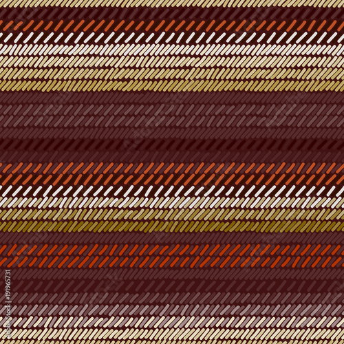 Photo  Brown and beige rug woven striped fabric seamless pattern, vector