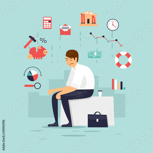 Sad businessman, crisis, bankruptcy. Flat design vector illustration.