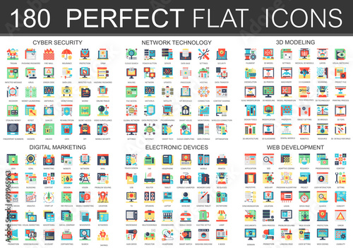 180 vector complex flat icons concept symbols of cyber security ...